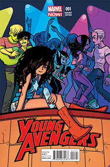 Variant cover for  Young Avengers  #1, art by Bryan Lee O'Malley. Marvel Comics.