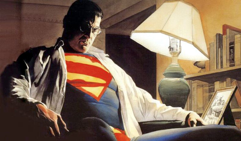 Totally straight Superman, art by Alex Ross. DC Comics.