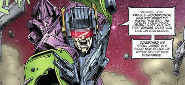 Panel detail from  Transformers Regeneration One  #88, art by Andrew Wildman. Hasbro/IDW Publishing.