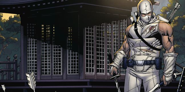 Cover detail from  Snake Eyes & Storm Shadow  #21, art by Robert Atkins. Hasbro/IDW Publishing.