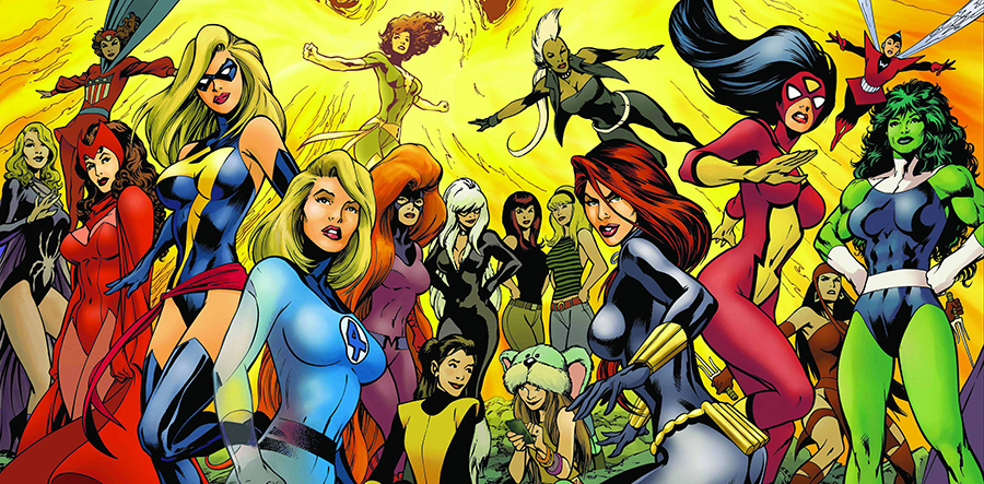 "Art from a ""Women of Marvel"" poster by Alan Davis. Marvel Comics."