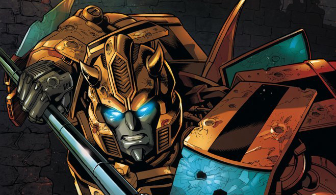 Cover detail from  Transformers Spotlight: Bumblebee , art by David Daza. Hasbro/IDW Publishing.