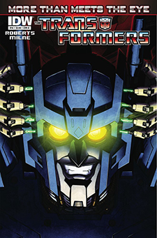 Cover art to  Transformers: More Than Meets the Eye  #14, art by Alex Milne. Hasbro/IDW Publishing.