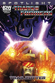 Cover to  Transformers Spotlight: Trailcutter , art by Matt Frank. Hasbro/IDW Publishing.