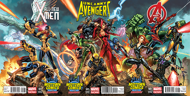 Linked variant covers exclusive to Midtown Comics, art by J. Scott Campbell. Marvel Comics.