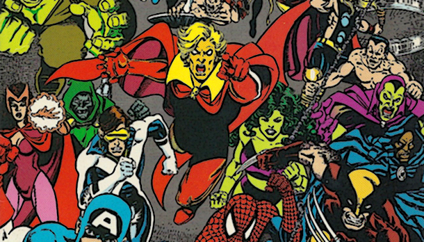 Cover detail to Infinity Gauntlet #3. Art by George Perez. Marvel.