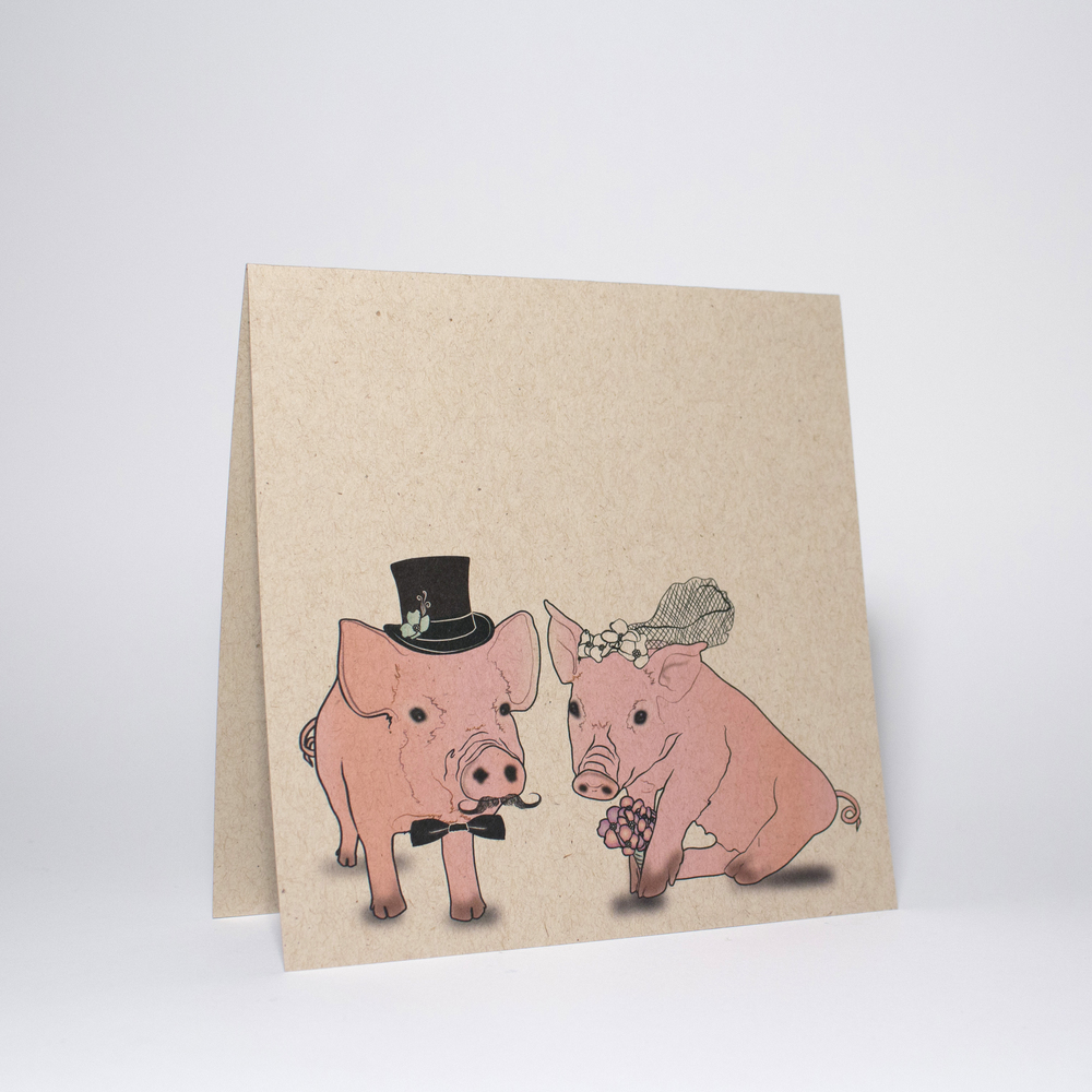 Bride Groom, cute pigs