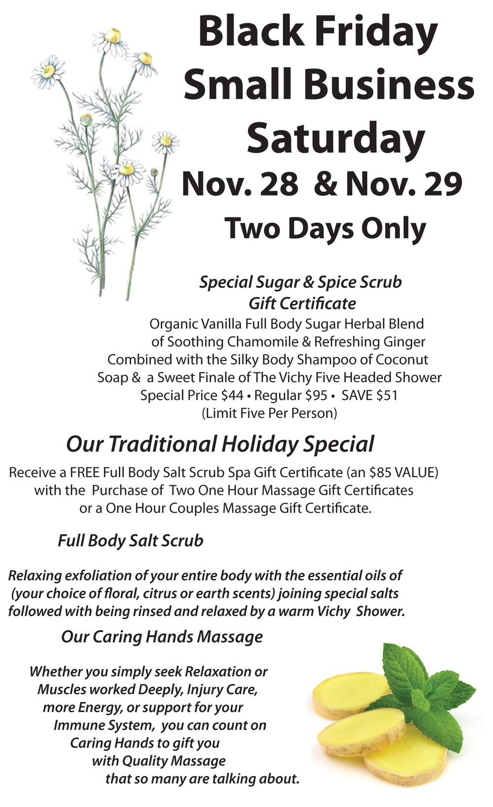 ... OF TRADITIONAL HOLIDAY SPECIAL GIFT CERTIFICATES BEGIN NOVEMBER 28