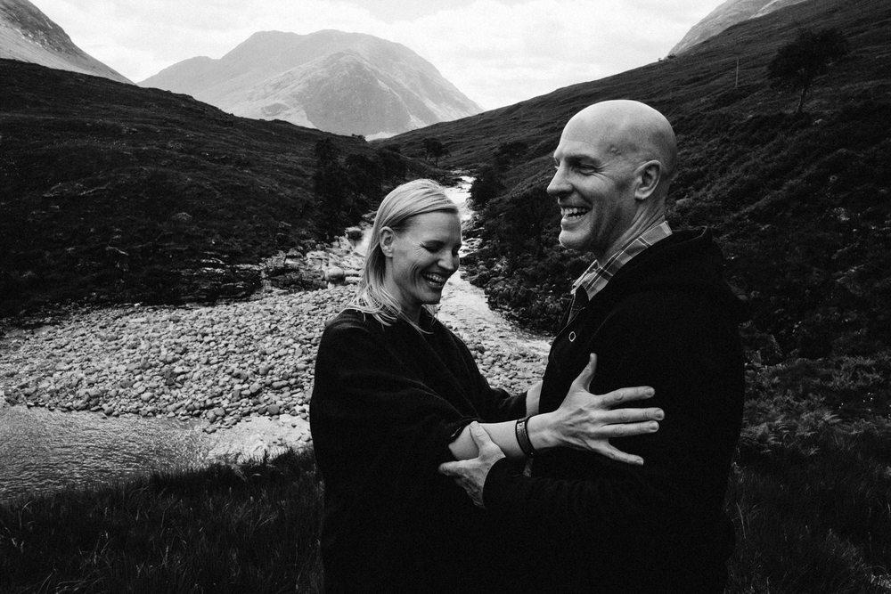 Laughing couple in Glen Etive, Glencoe