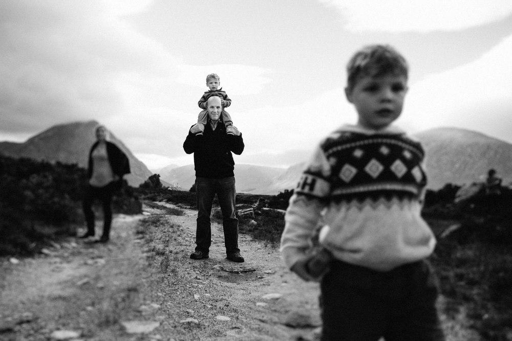 Family standing in Glencoe