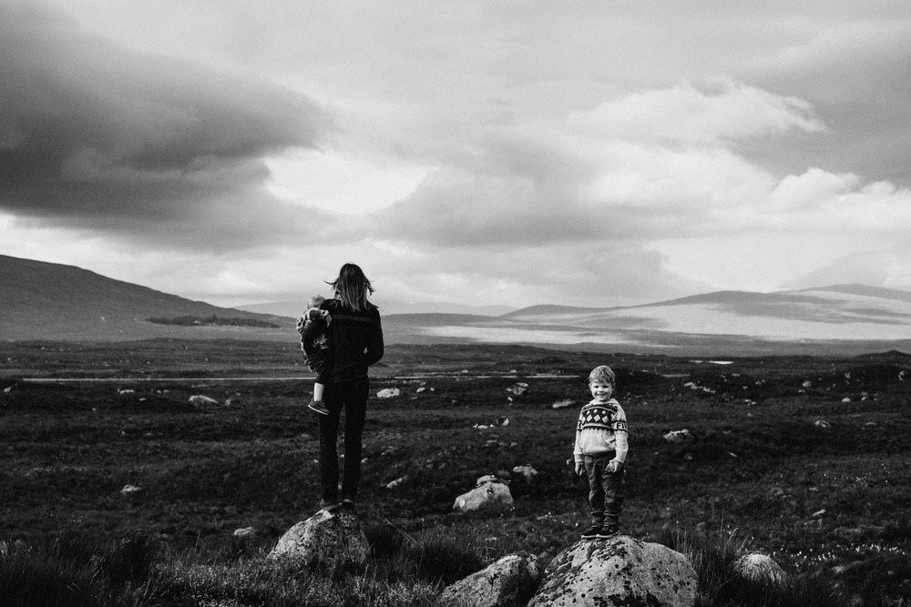 Children standing in an open area of Glencoe