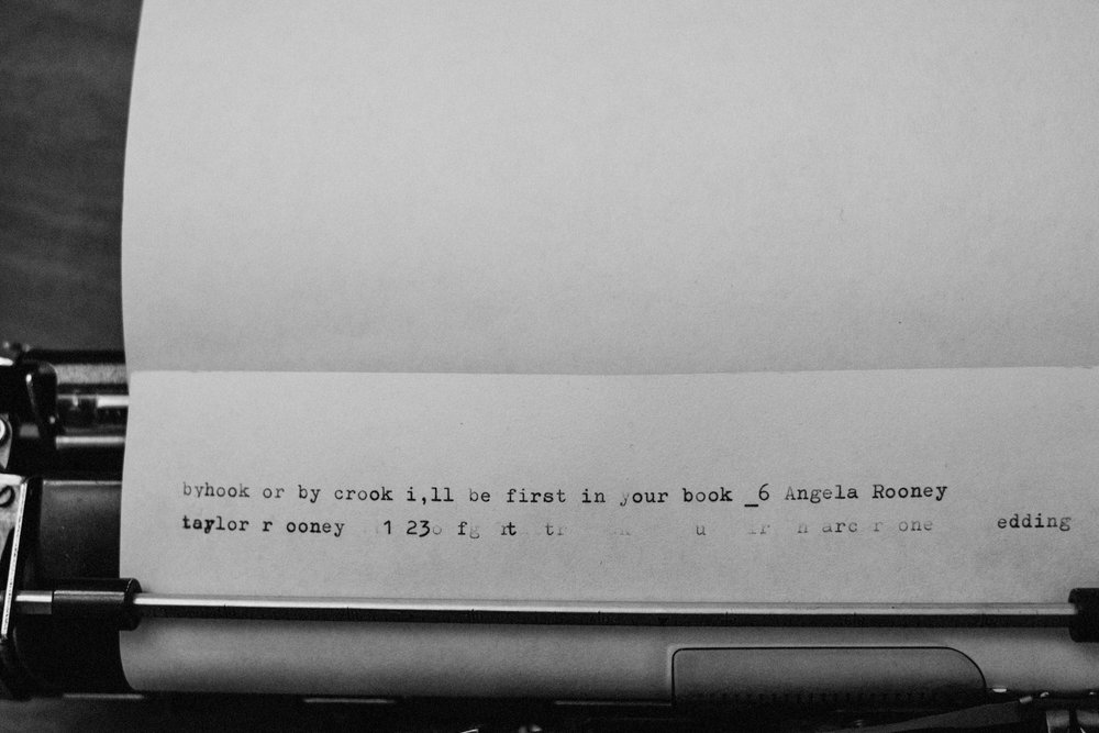 Words written on a typewriter