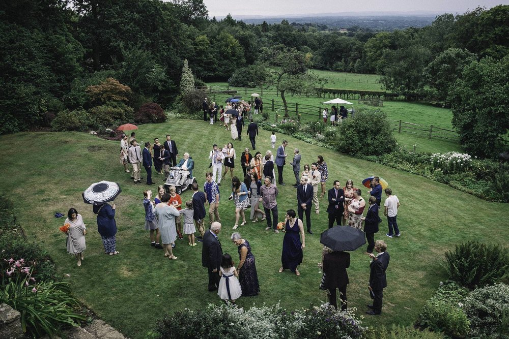 Arial shot of guest and bridal party