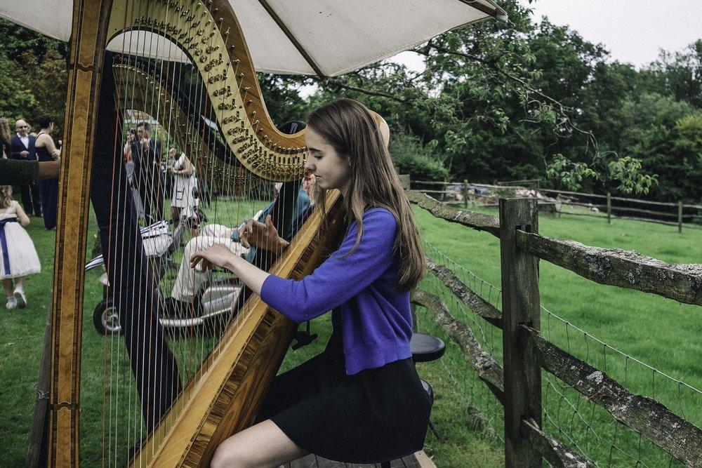 Harpist in garden