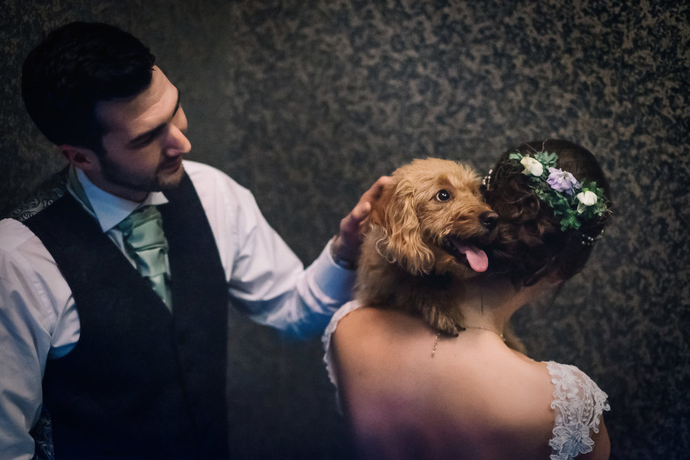 Bride and groom hug their dog