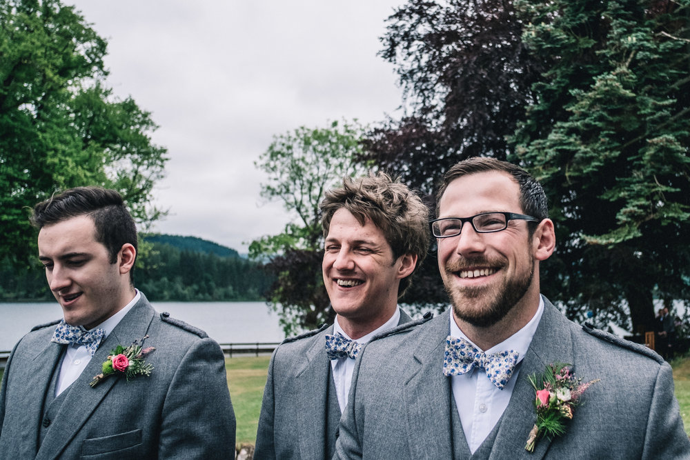 Groomsmen at  Altskeith House , Loch Lomond;  Button holes by  Briar Rose .