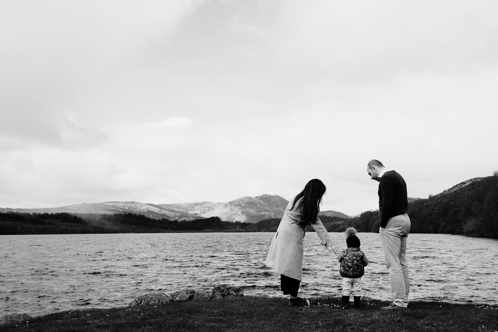 Family stand by Loch Venachar