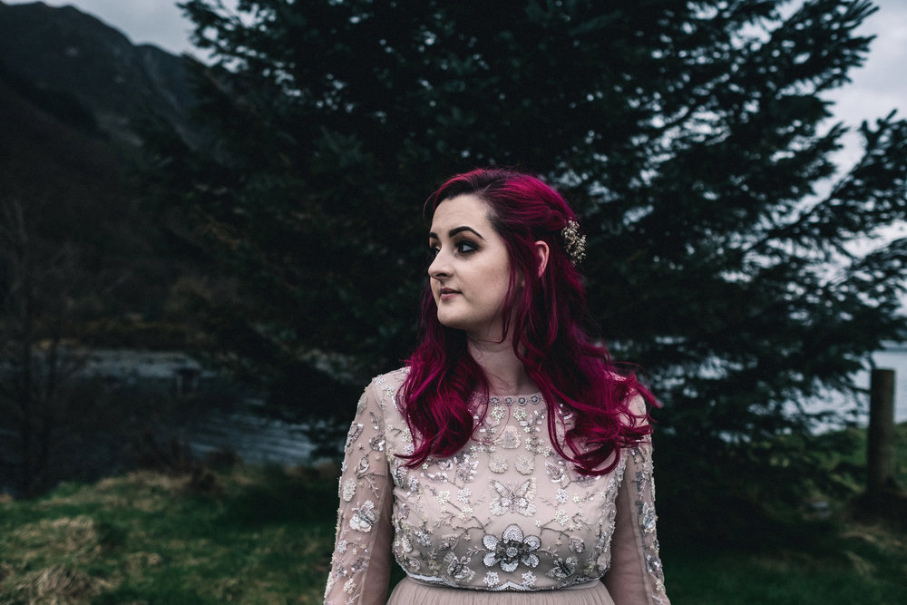 Bride with bright pink hair