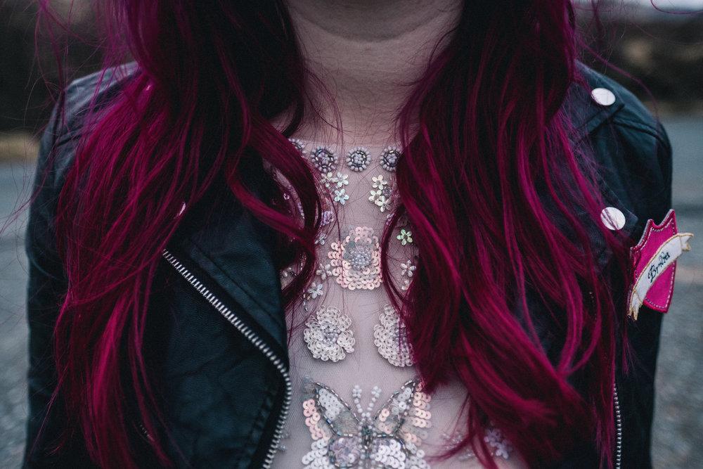 Bright pink bridal hair