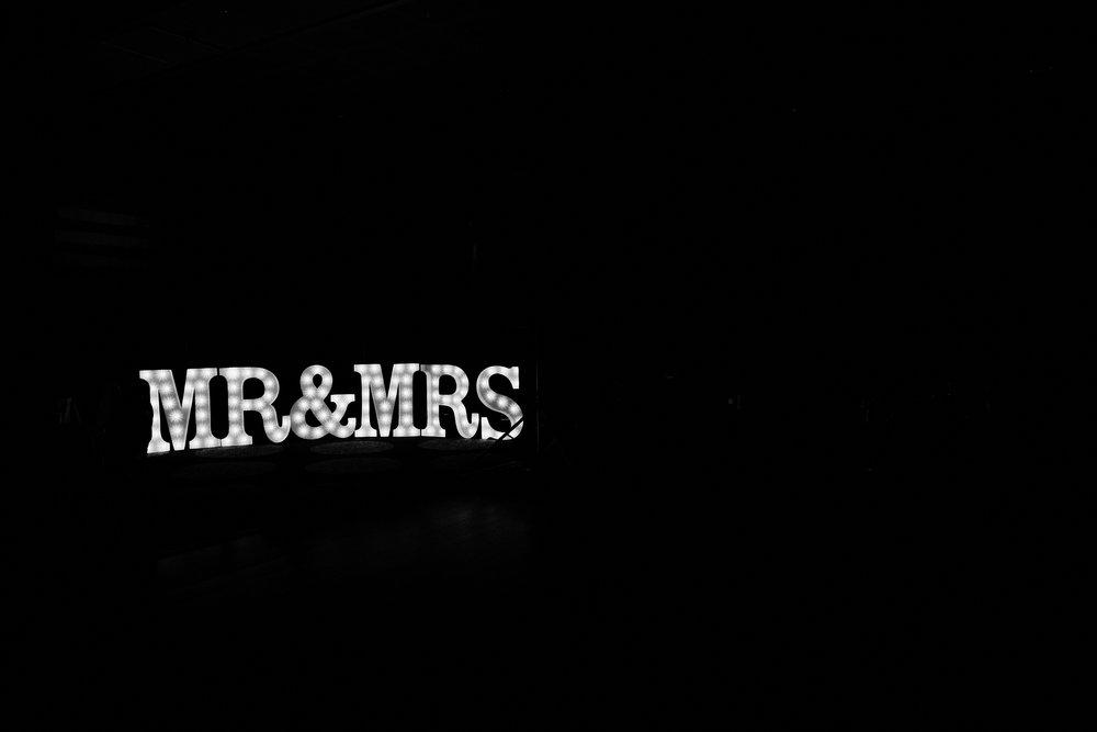 Mrs + Mrs light letters