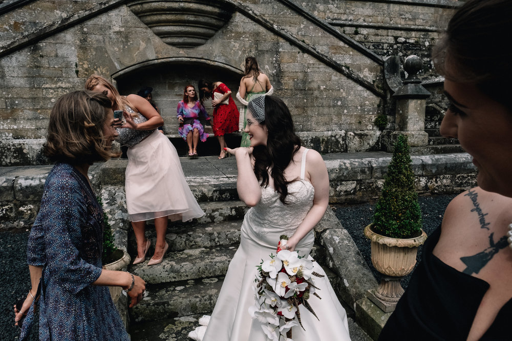 Bride blows kiss to friend