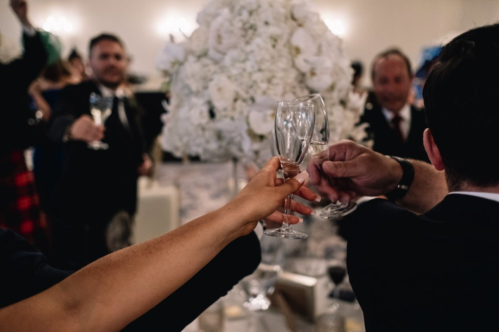 Wedding guests toast