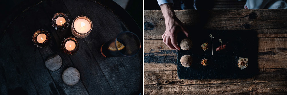 A collage - on the left are candles on a barrell of the evening reception. On the right is a slate with canapes of the afternoon drinks reception.