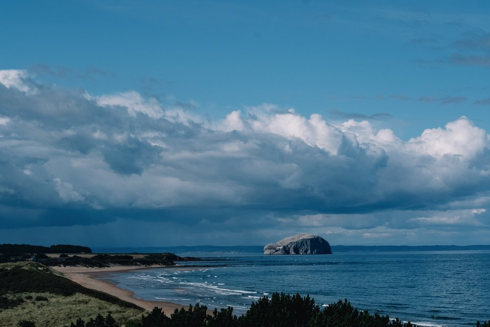 Bass rock from Ravenshuegh Log Cabin.