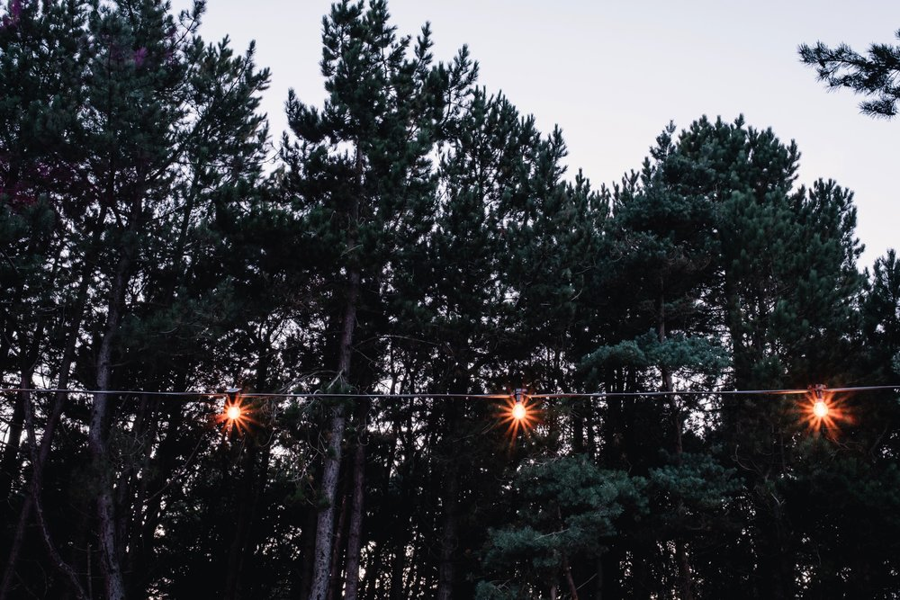 Festoon lighting in the evening.