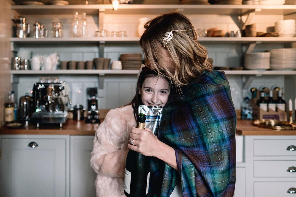 Bride is hugging her niece