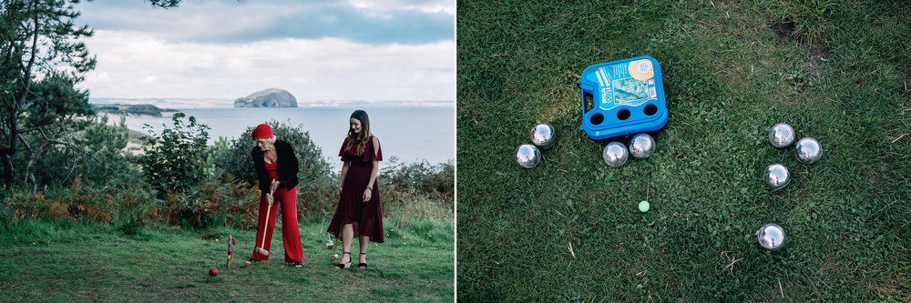 Guests play boules on green