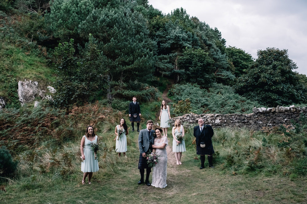 Bridal party in an unusual group portrait