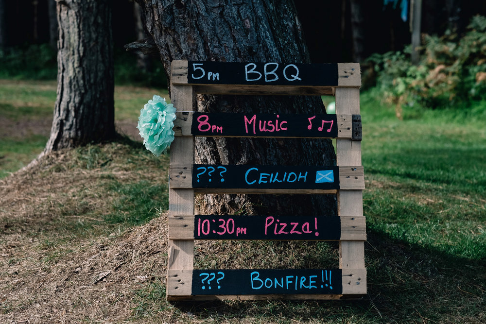 Chalk board with outline of wedding day's events