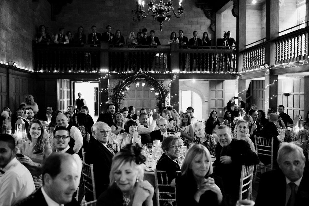 Filled ballroom of Achnagairn Estate.