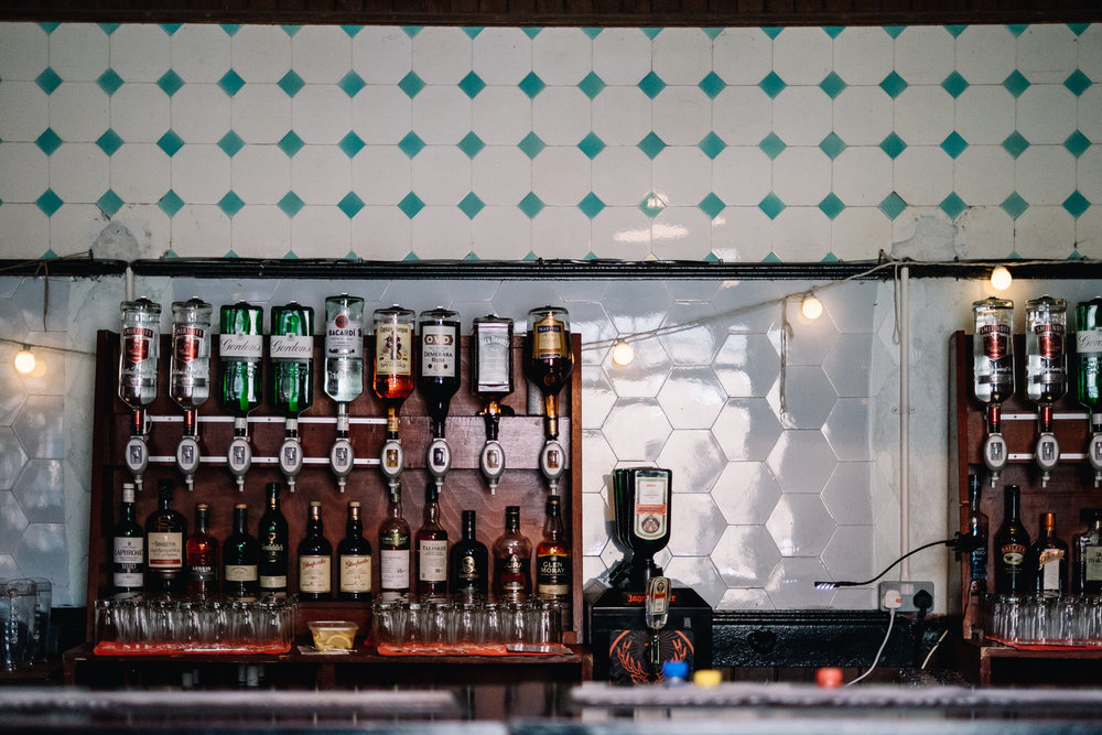 A well stocked DIY bar.