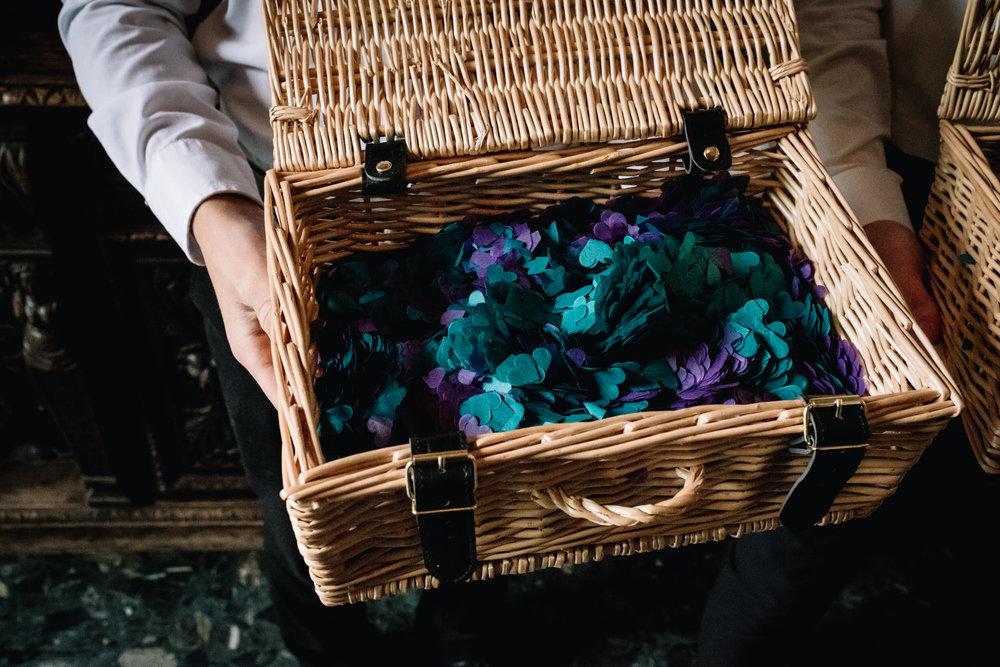 A basket full of confetti.