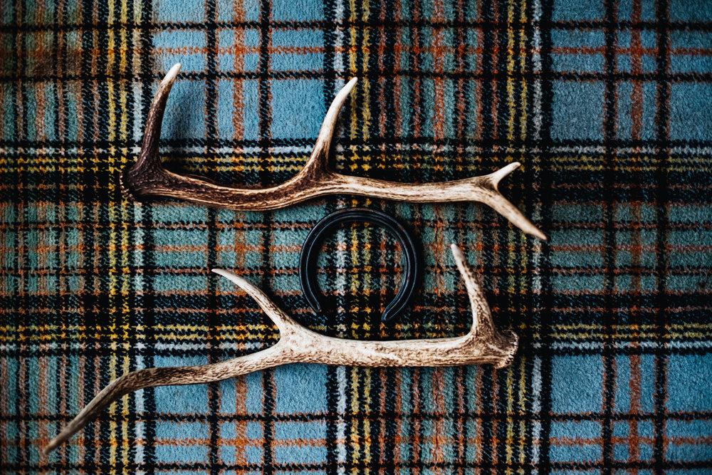 Antlers are on tartan carpet.