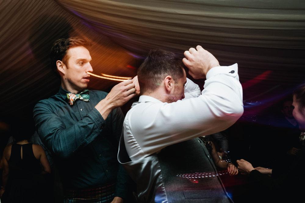 dancing wedding guests