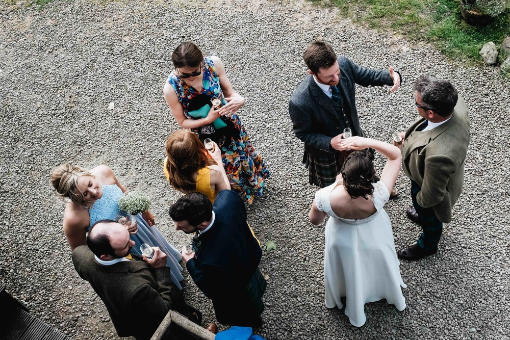 arial perspective of guests enjoying drinks reception