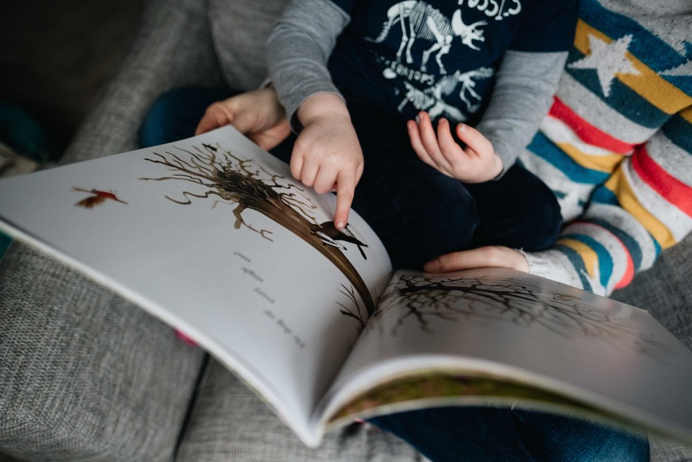 young boy pointing out something in the book he is being read
