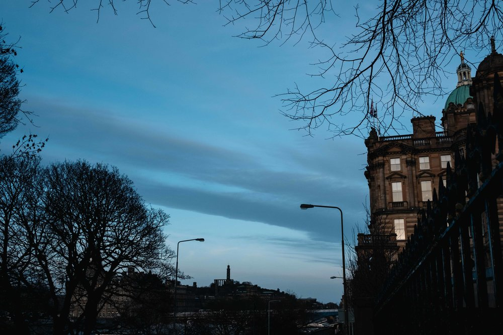 Dusky skies over Edinurgh