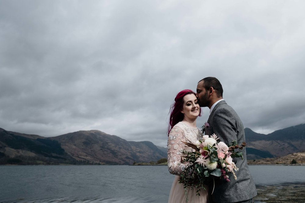 A coupel kiss by the banks of Loch Leven following thier elopement