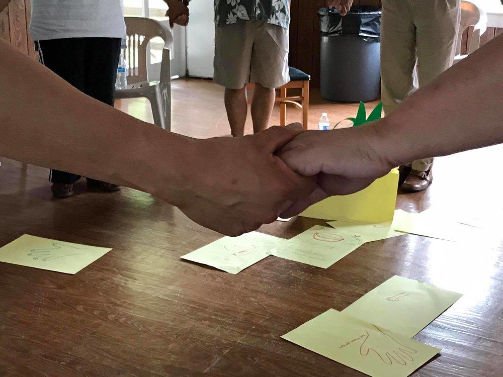 Brown Hand White Hand at Shrine Mont.jpg