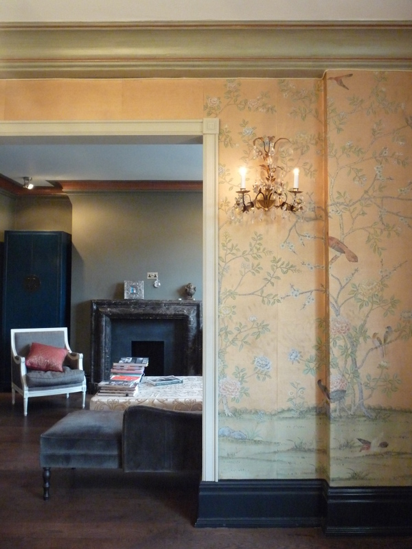 Hand painted plaster cornice. Colours mixed to complement the lovely De Gourney wallpaper.