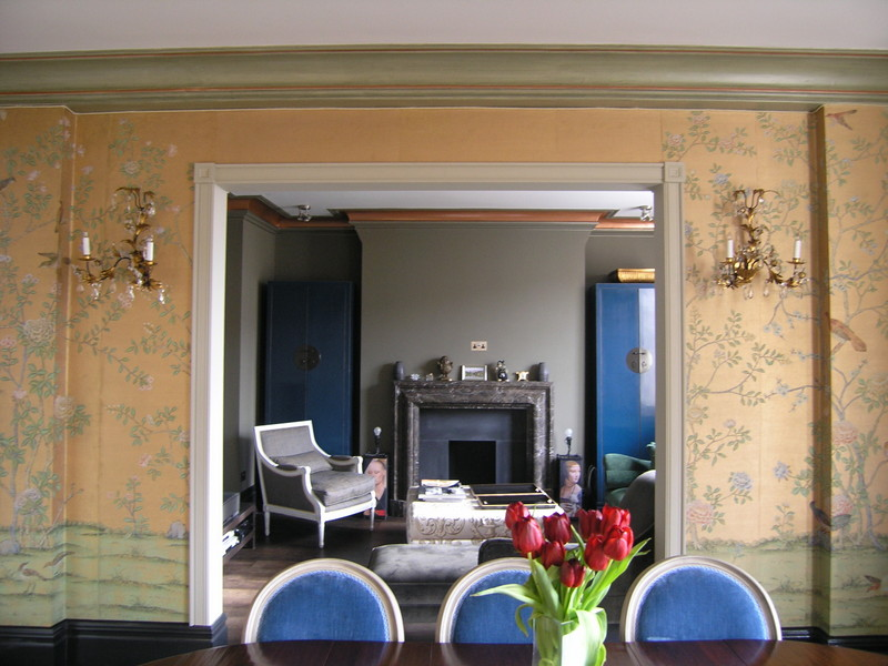 Colour Consultation. Using colours from De Gourney Wallpaper to use on cornice in two ajoining rooms.
