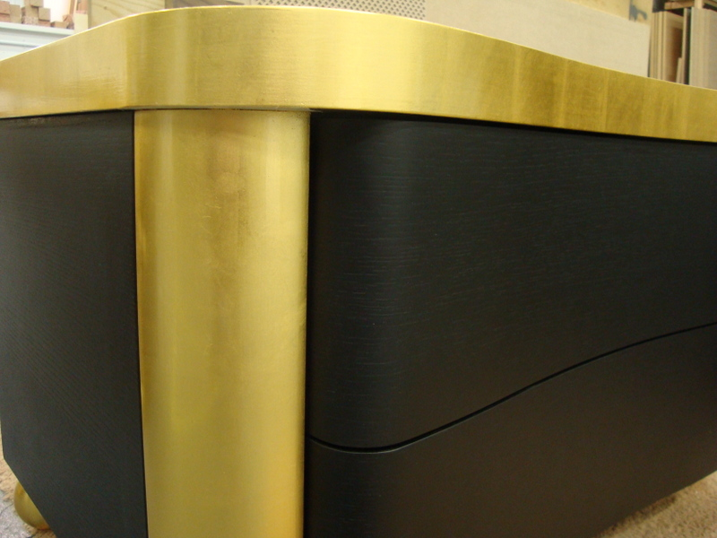 24crt Gold leaf trim onto handmade modern furniture (with shellac varnish)