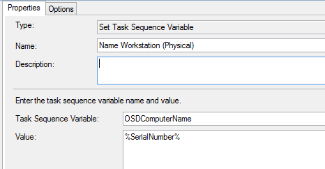 Uses the task sequence variable %SerialNumber% as the hostname