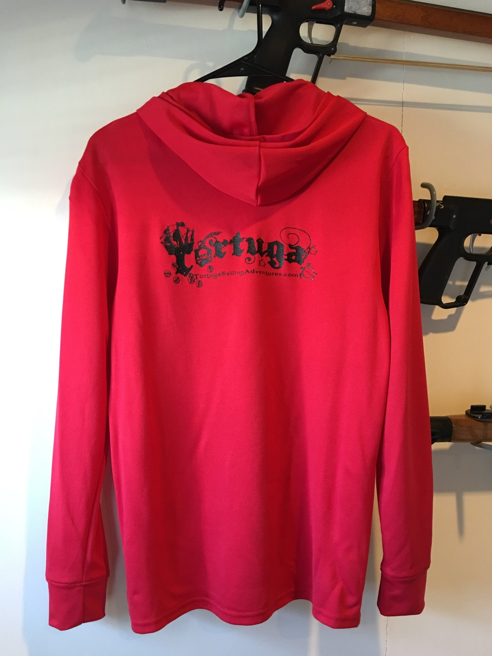 Dry shirt, lS hooded red w/blk logo  $46