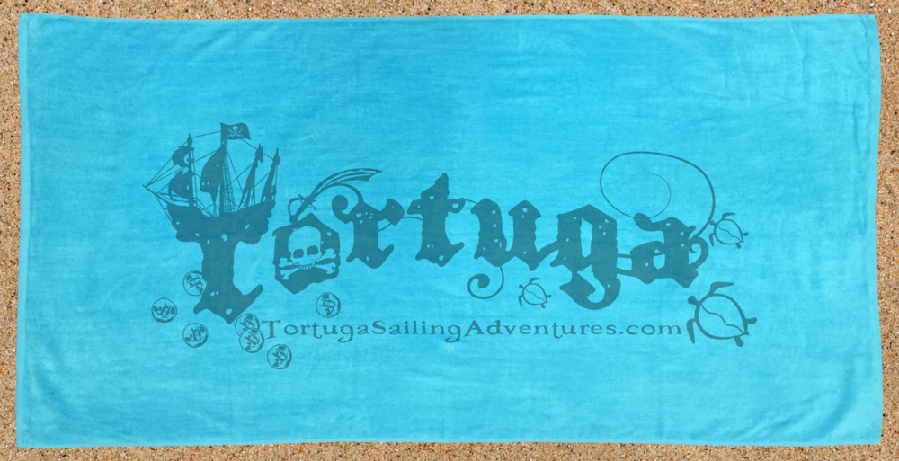 30x60 Terry Velour Tortuga Logo Beach Towel Hot pink or teal  $12