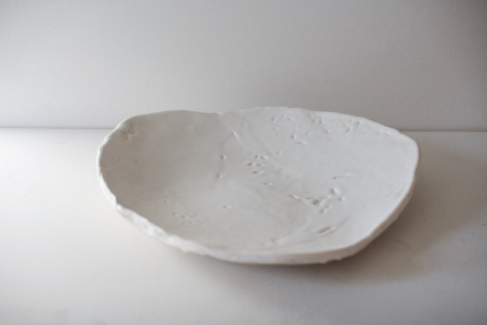 Sno - One of a kind irregular white plate - 13x13x13 in - $500